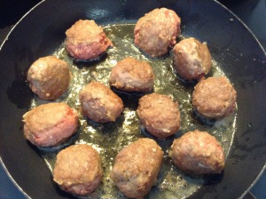 frying the meatballs